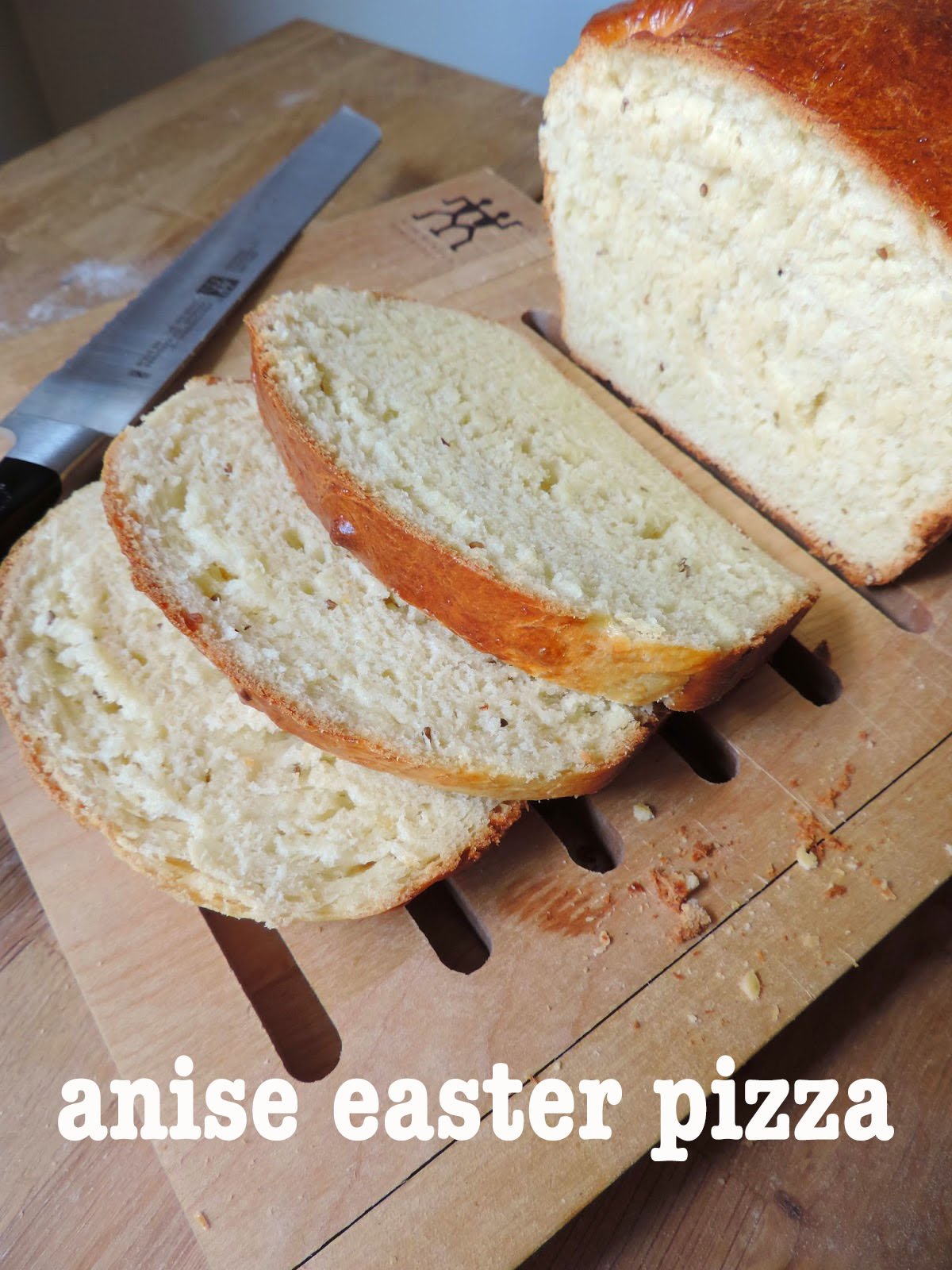 Easter Pizza: A tender yeast bread flavored with anise oil and studded with anise seeds. My father's family's specialty around Easter.