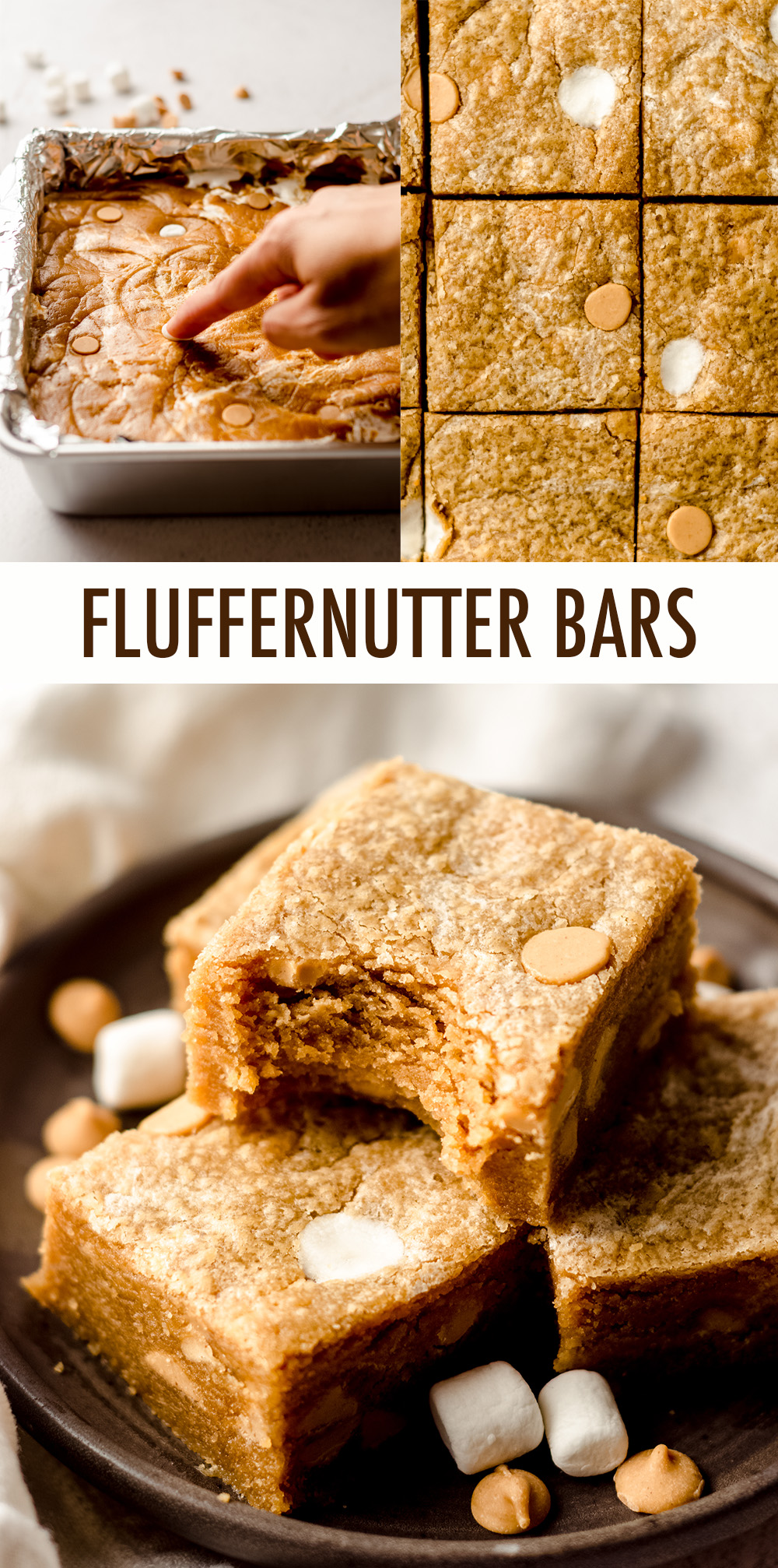 Sweet and salty peanut butter bars swirled with gooey marshmallow creme.