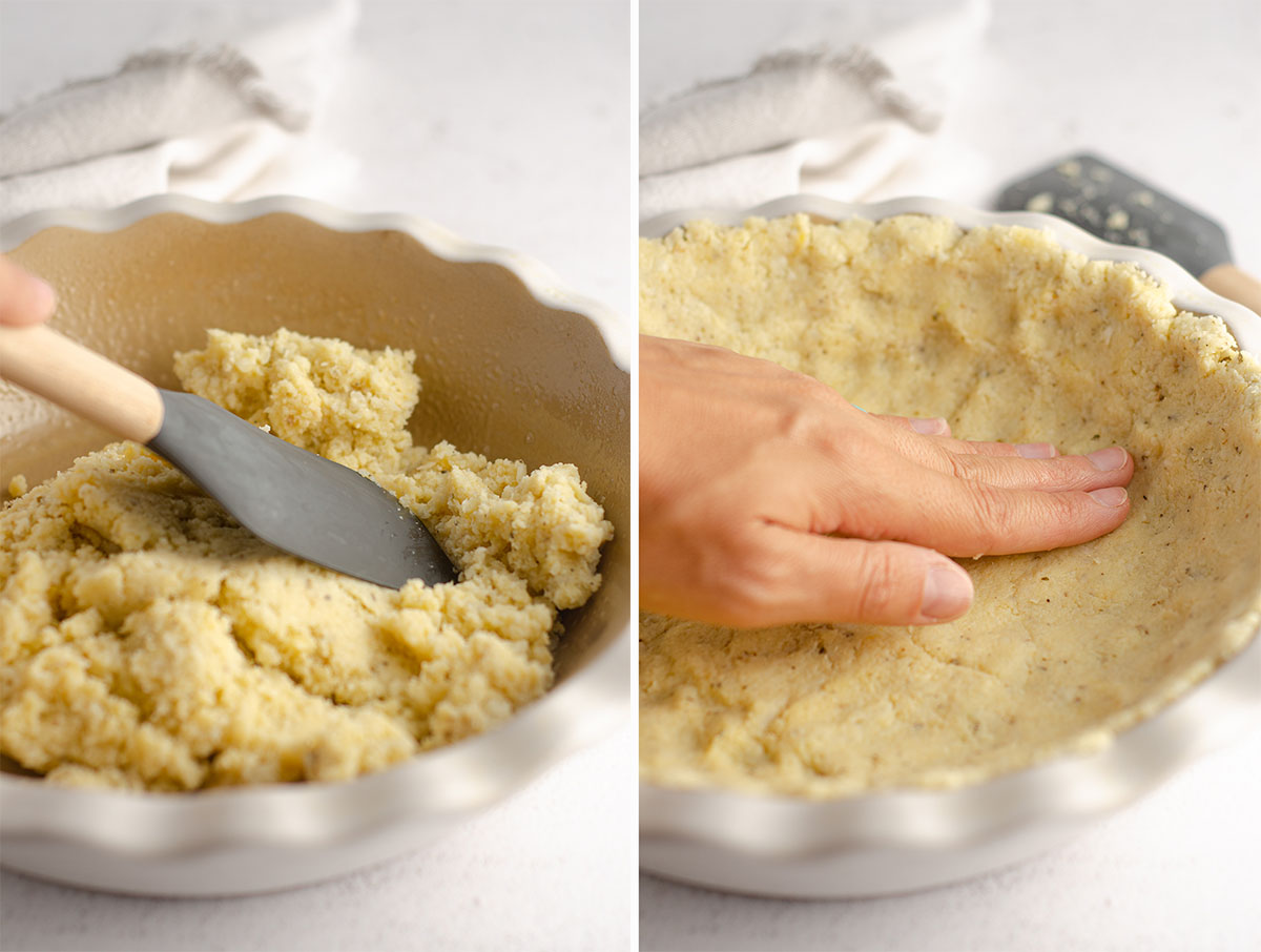 hands pressing a cauliflower crust into a pie plate