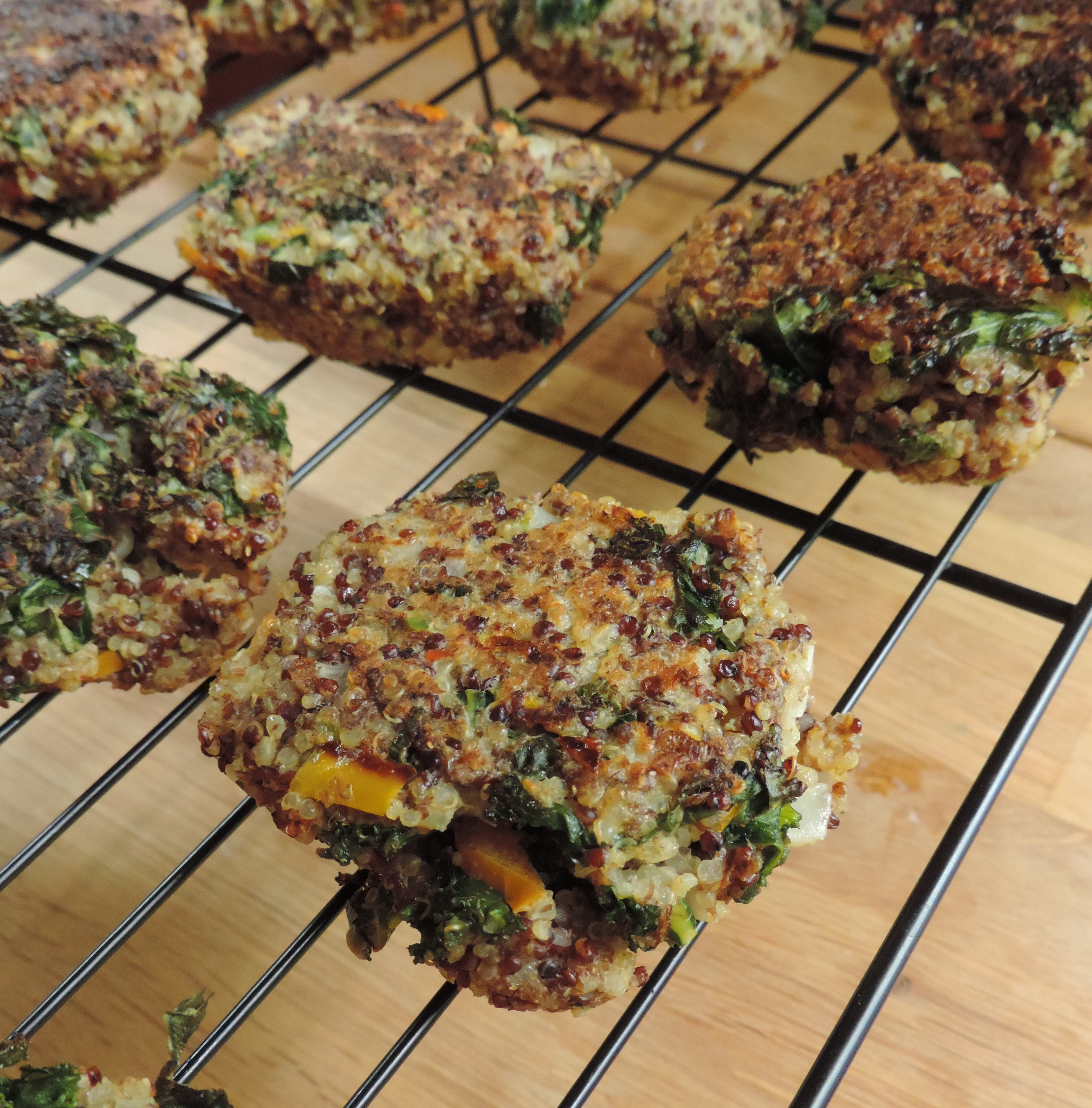 Quinoa, Kale, and Flaxseed Patties: nutrient-rich, hearty, and naturally gluten-free!