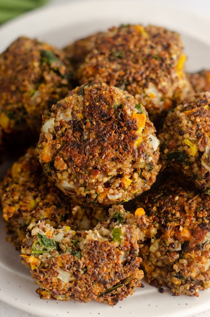 Quinoa, Kale, and Flaxseed Patties: Hearty quinoa patties, jam packed with vegetables and protein. Gluten-free and vegetarian friendly!