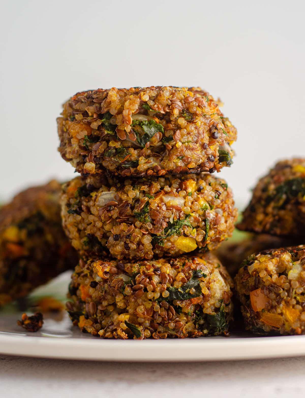 stack of quinoa patties