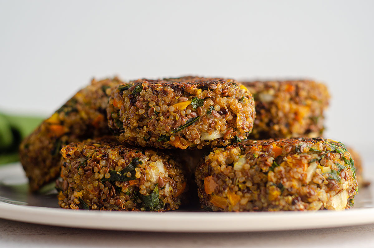 quinoa patties sitting on a plate