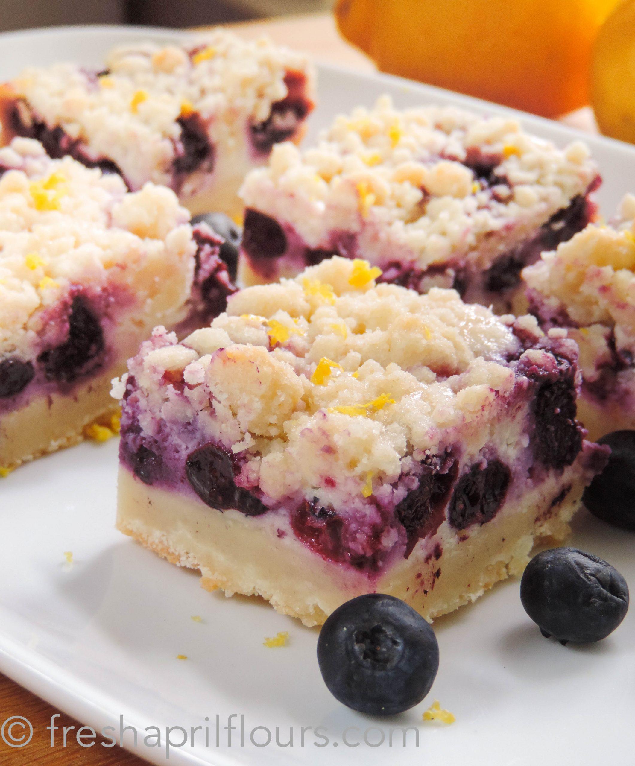 blueberry lemon pie bars on a plate