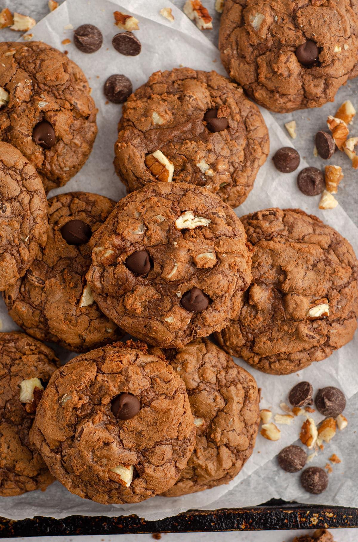aerial photo of brownie cookies