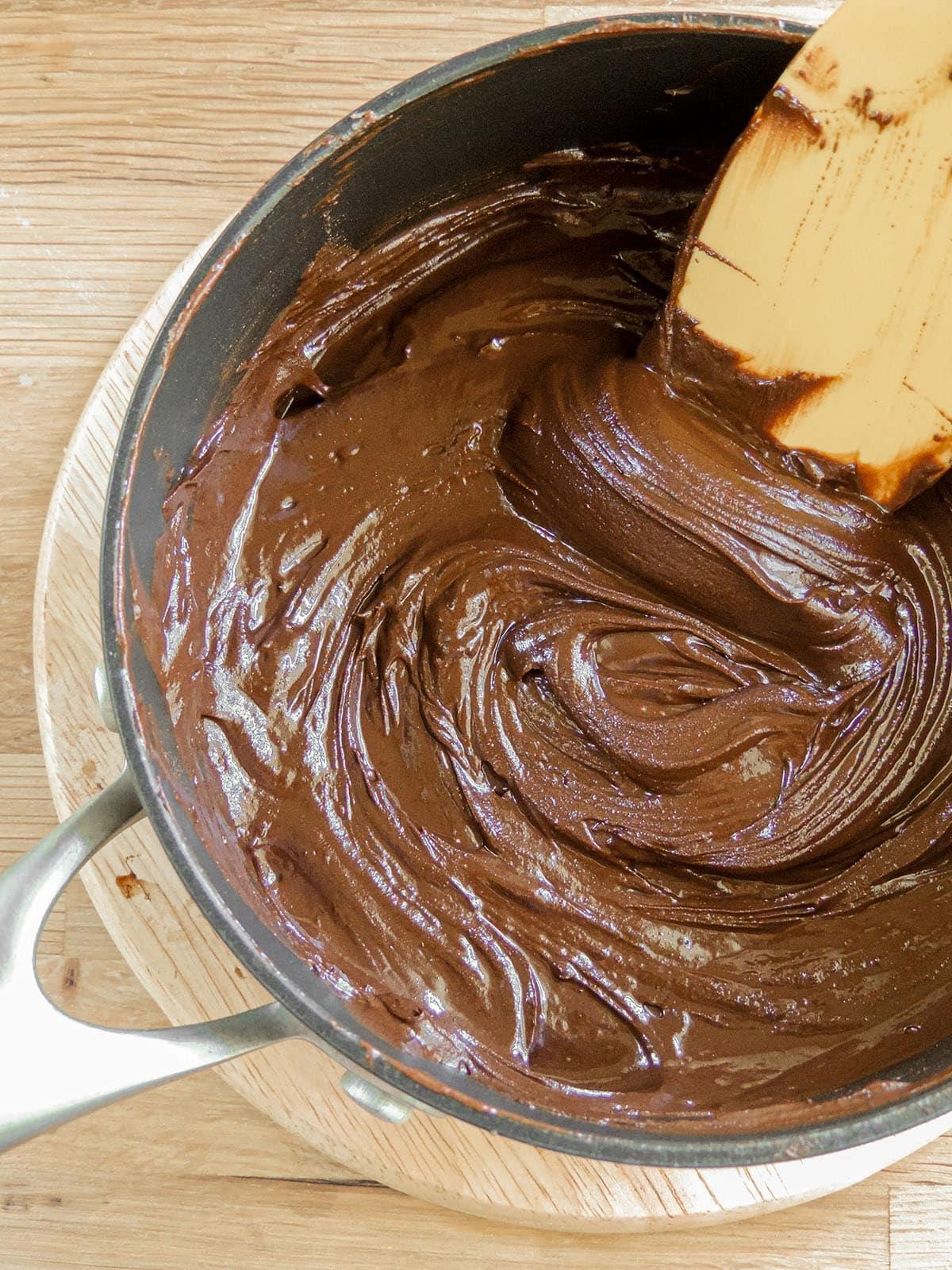 brownie cookie batter in a saucepan