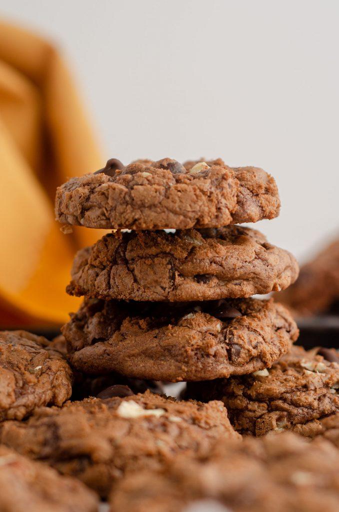 side view of stack of brownie cookies