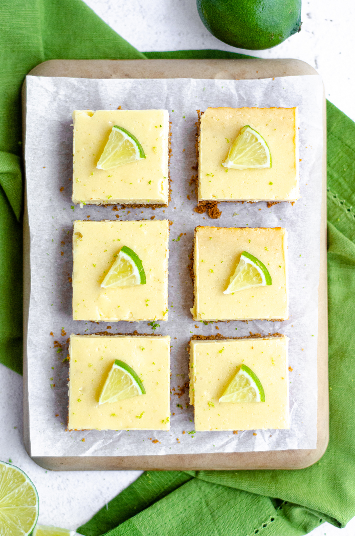 aerial photo of key lime pie bars on a platter