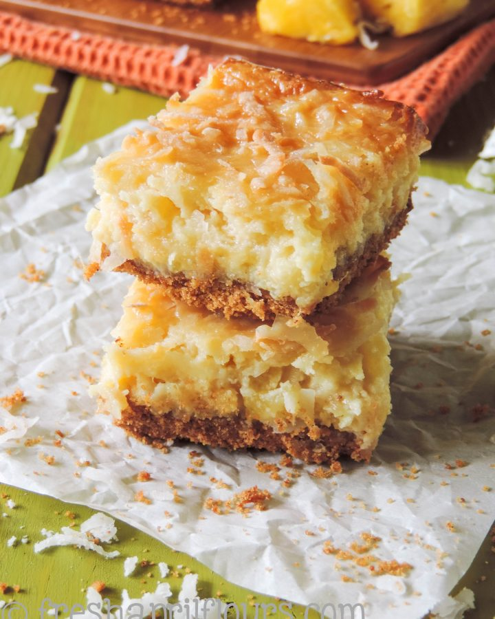Piña Colada Bars: Piña coladas never tasted so good! These tropical pineapple and coconut bars are the answer to your summer sweet tooth.