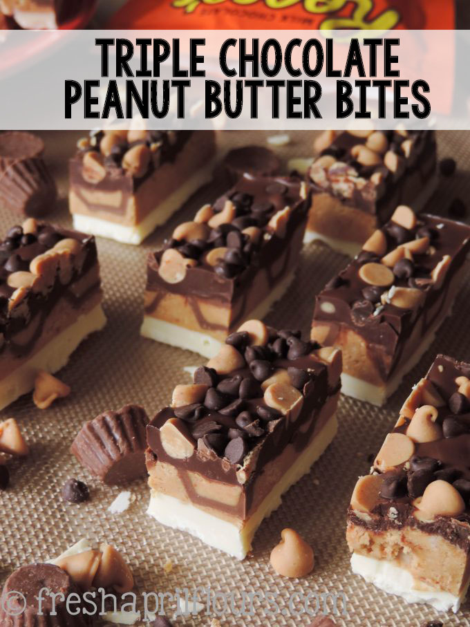 A slightly crunchy peanut butter cup layer, sandwiched between dark and white chocolate layers, and topped off with some more chocolate and peanut butter!