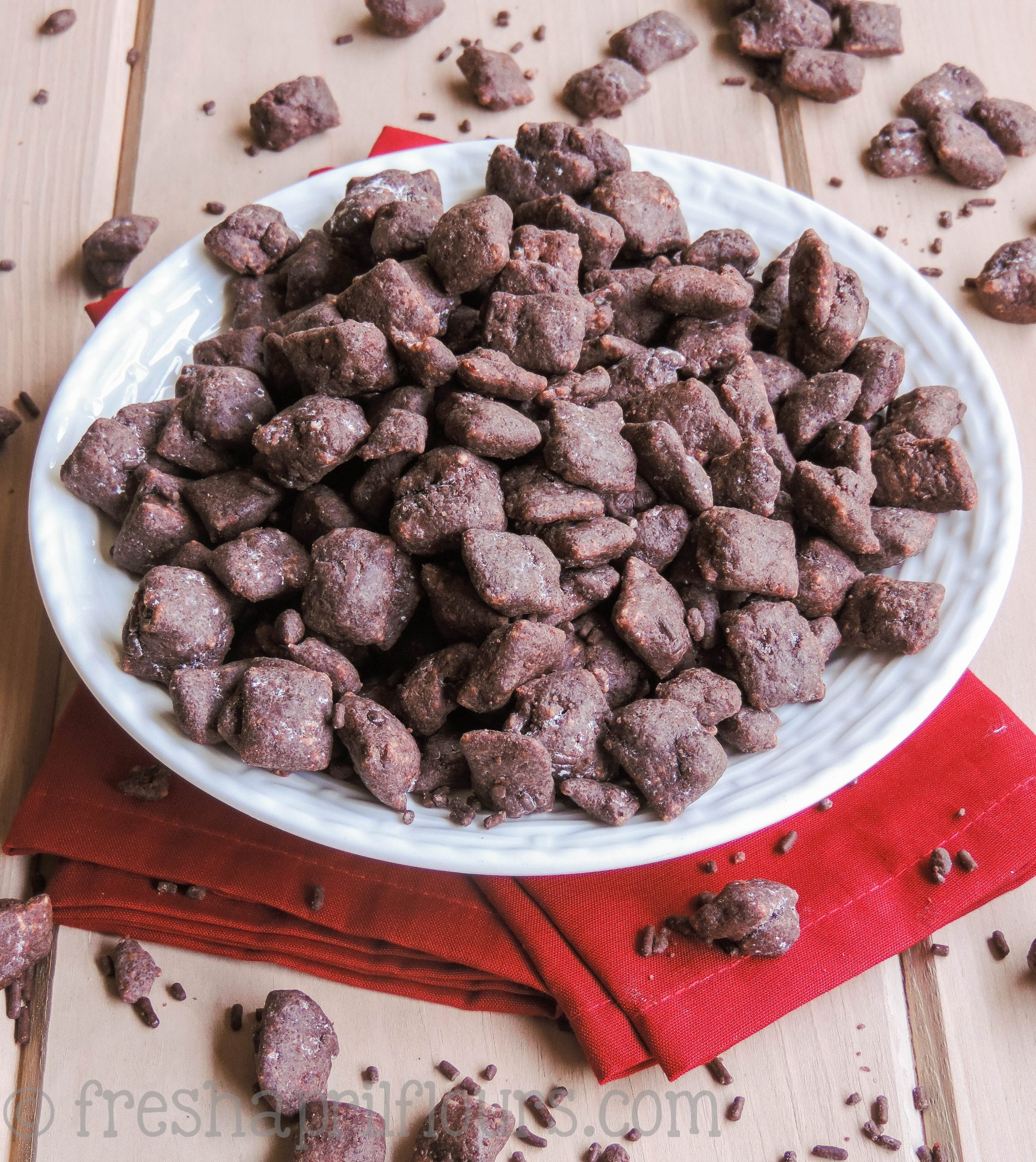 Brownie Batter Puppy Chow: A super chocolatey and slightly gooey take on classic puppy chow. Plus-- there's sprinkles!