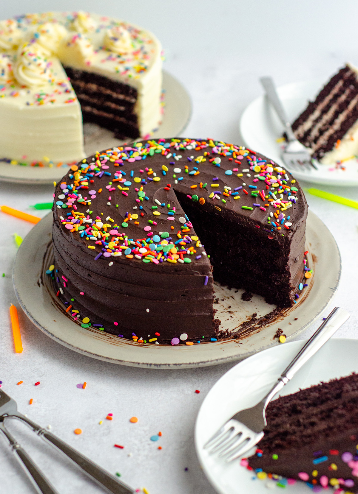 Chocolate Layer Cake: Soft, moist, and smooth chocolate layer cake with the richest chocolate flavor you'll ever taste. Super easy and only one bowl needed! Pair with my favorite chocolate buttercream, go-to vanilla buttercream, or something fancier to fit your liking.