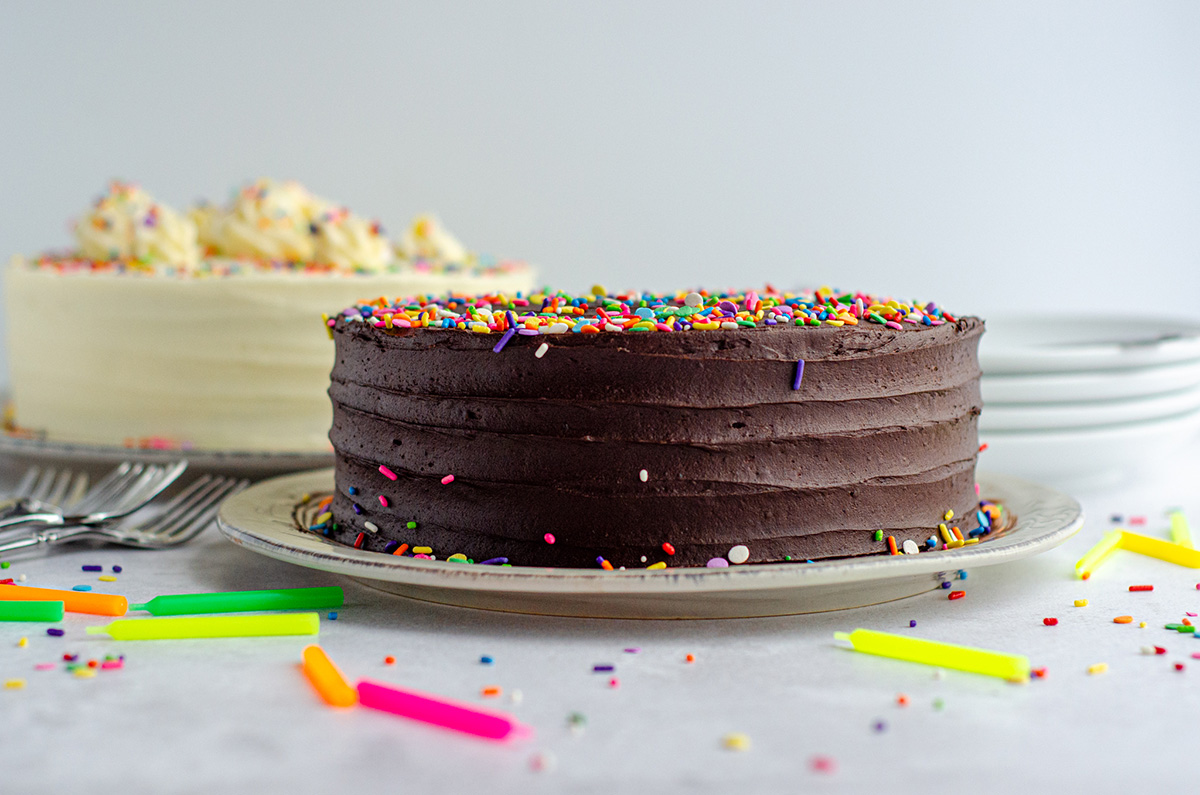 chocolate layer cake with chocolate buttercream on a platter with rainbow sprinkles and candles scattered around it