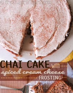 Chai Cake with Spiced Cream Cheese Frosting: This tender cake is spiced with chai-infused milk, extra spices, and topped off with a spicy cream cheese frosting. No shortage of fall flavors in this perfectly sweetened cake!