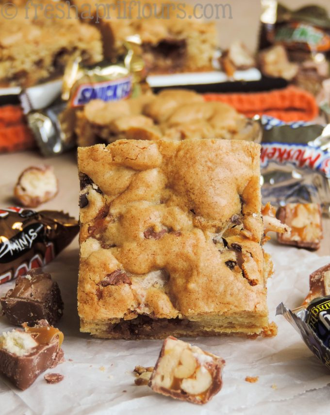 Candy Bar Blondies: Leftover candy from Halloween or other celebration? Chop it up and throw it into a buttery, chewy blondie!