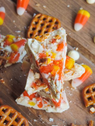 Candy Corn Pretzel Bark: This sweet, salty, chewy, and crunchy bark is a great way to use up some of your Halloween candy corn.