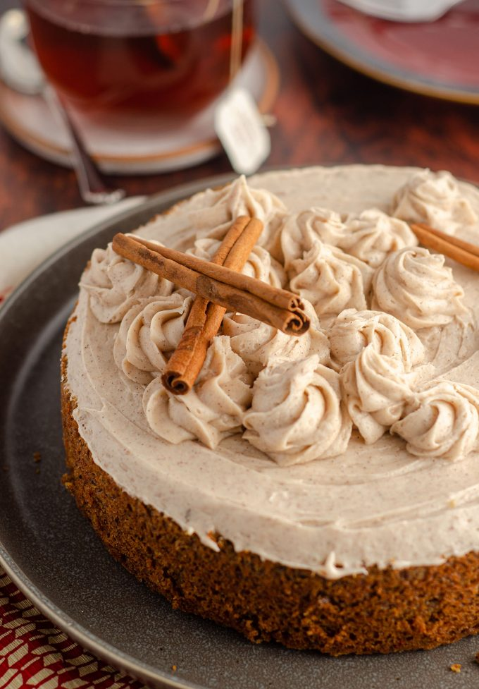 whole chai cake decorated with cinnamon sticks