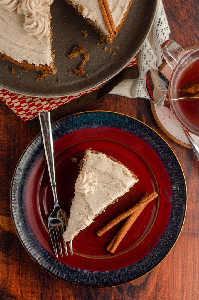 aerial photo of chai cake on a red plate