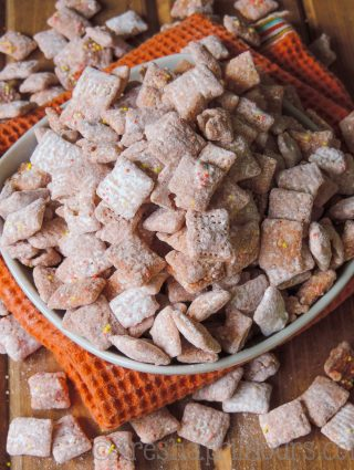 Pumpkin Spice Puppy Chow: This fall inspired version of the popular snack is bursting with pumpkin and cinnamon flavor in every crunchy bite. Only 3 ingredients and 10 minutes!