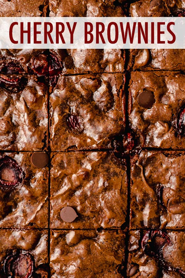 Chewy and fudgy scratch brownies studded with plump and juicy Bing cherries and chocolate chips. You can also make these cherry brownies with sweet dried cherries or jarred Maraschino cherries.