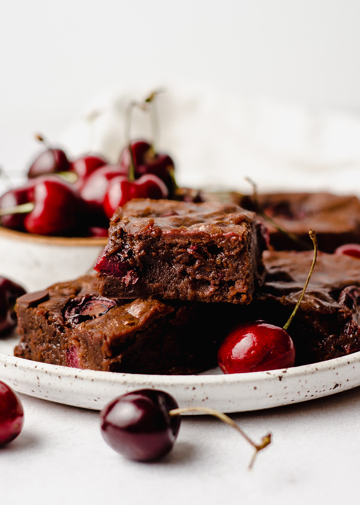 cherry brownies on plate