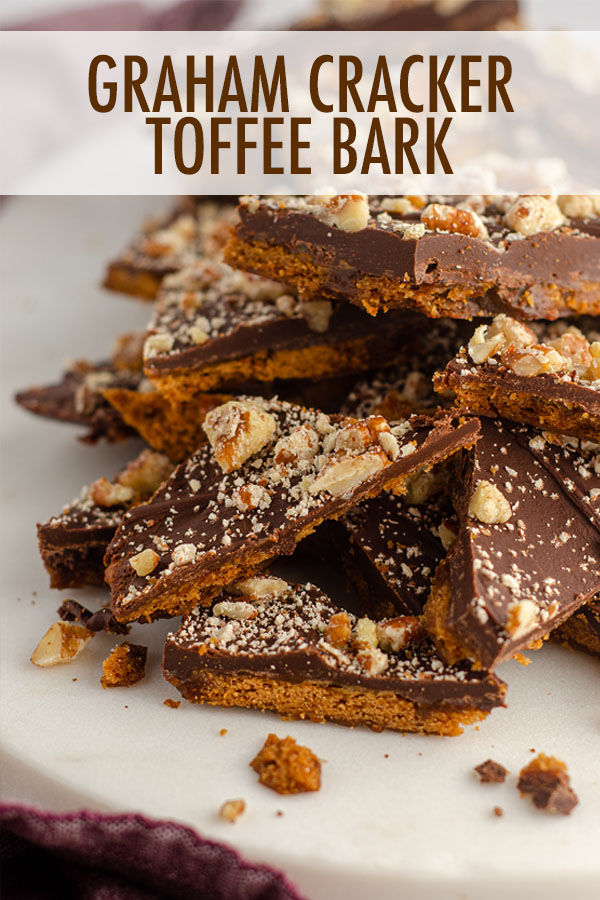 A twist on the classic toffee bark-- made with an easy butter and brown sugar toffee, this graham cracker toffee bark is a perfect sweet, salty, and sticky treat. Dress it up with festive sprinkles for holidays or other celebrations!