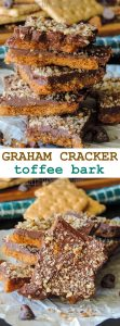 Graham Cracker Toffee Bark: Sweet, salty, sticky toffee made with brown sugary graham crackers.
