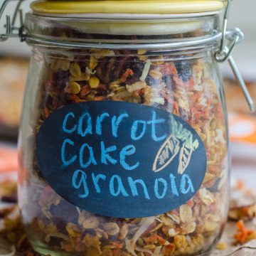 Soft-Baked Carrot Cake Granola: This soft and chewy carrot cake granola is perfectly spicy and full of the best parts of carrot cake... Without all the guilt!