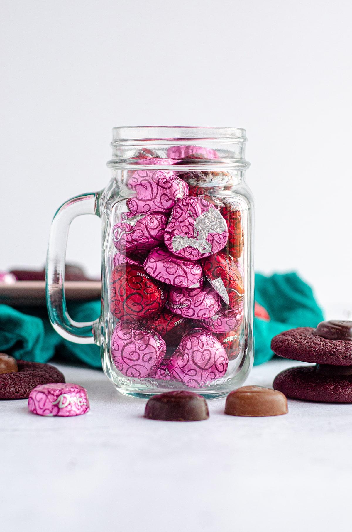 mason jar full of dove chocolate hearts