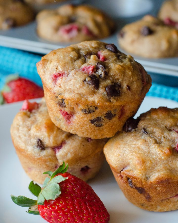 Skinny Strawberry Chocolate Chip Muffins: Chocolate chip muffins bursting with fresh strawberries. No oil, no butter, but no sacrifice of flavor!