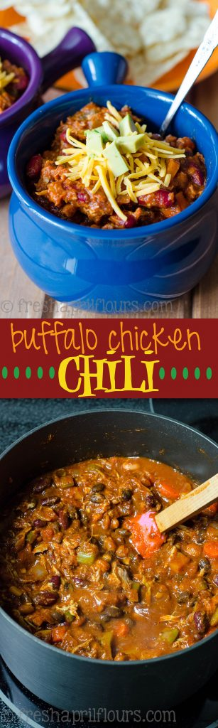 Buffalo Chicken Chili: A hearty, zesty blend of Mexican spices and shredded chicken kicked up a notch with a hefty dose of hot sauce.