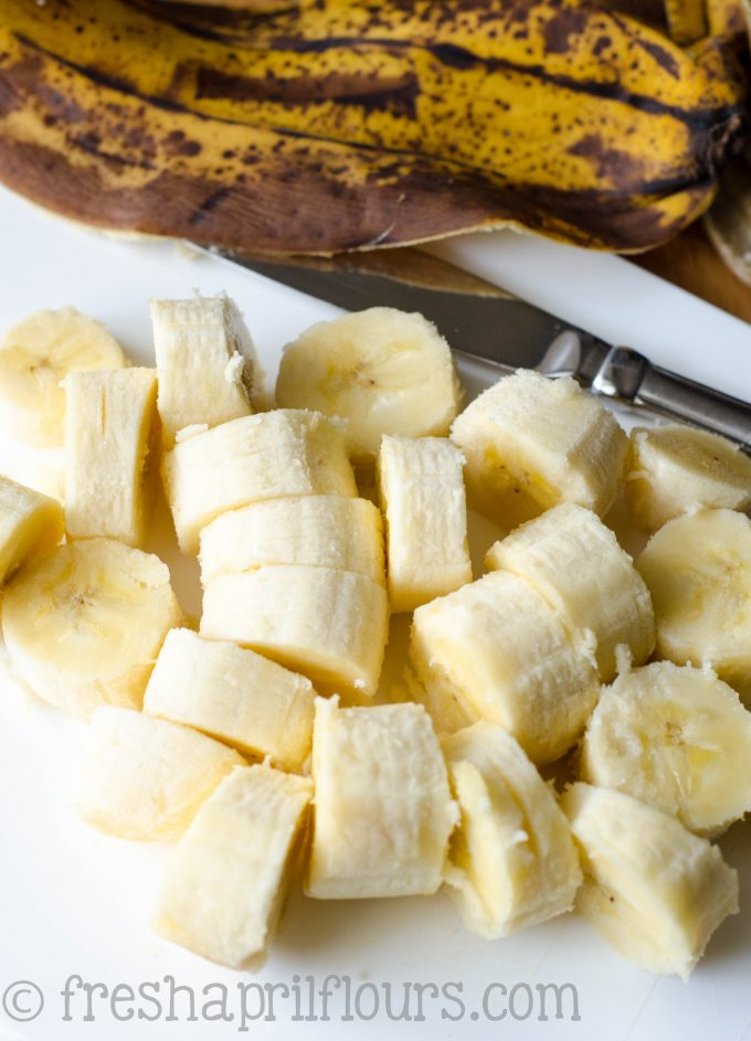 very brown banana cut into slices