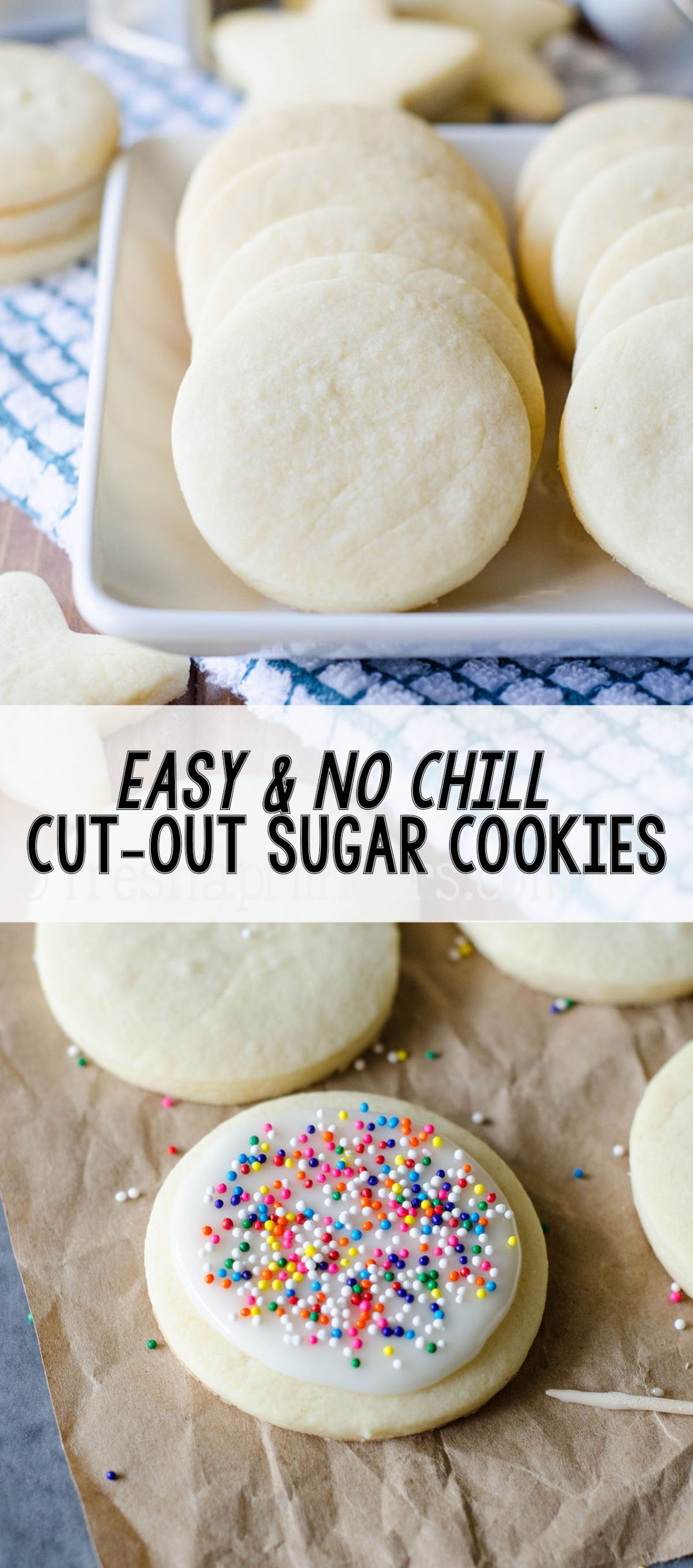 No dough chilling necessary for these soft cut-out sugar cookies that are perfect for decorating with icing and sprinkles. Crisp edges, soft centers, and completely customizable in flavor and shape!