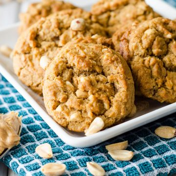 Flourless Crunchy Peanut Butter Cookies: Just 5 simple ingredients produce these crunchy, nutty, gluten free cookies. You'd never guess they have no flour!