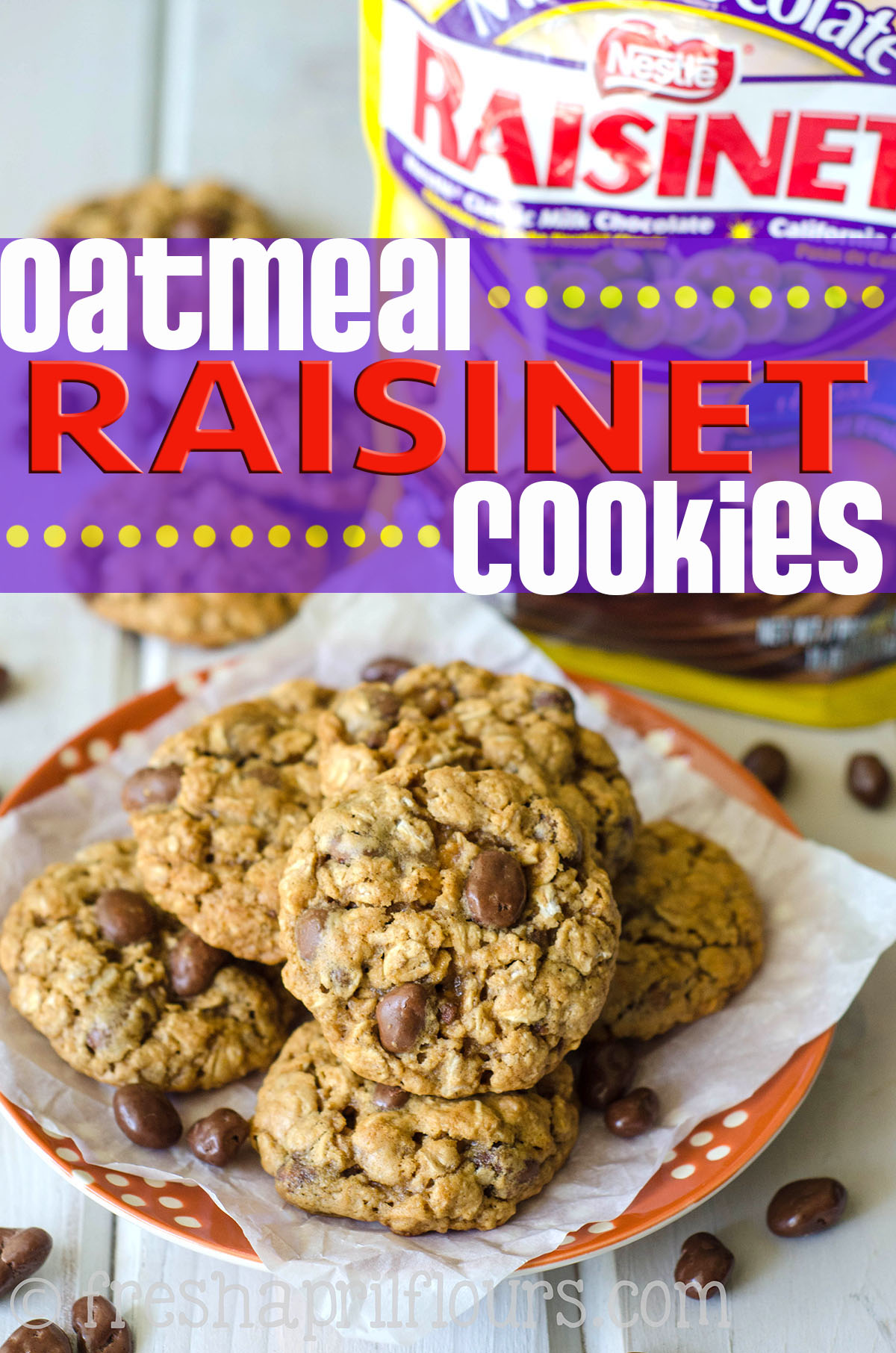 Oatmeal Raisinet Cookies: These are not your mama's oatmeal raisin cookies-- these are oatmeal Raisinet cookies! Chewy, buttery, sweetened with brown sugar and molasses, and full of chocolate covered raisins. A fun take on the classic.