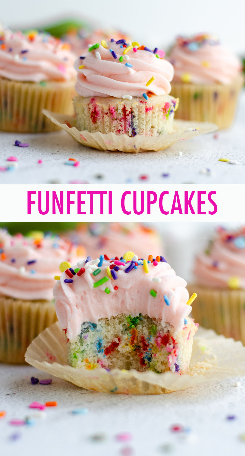 Sprinkle-speckled cupcakes that taste BETTER than the ones from the box, topped with creamy, sprinkle-filled vanilla buttercream. Ditch the mix and make your own funfetti cupcakes from scratch!