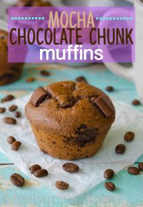 Mocha Chocolate Chunk Muffins: Moist and tender coffee flavored muffins filled with gooey chunks of chocolate. No oil, no butter, but so many mouthwatering flavors!