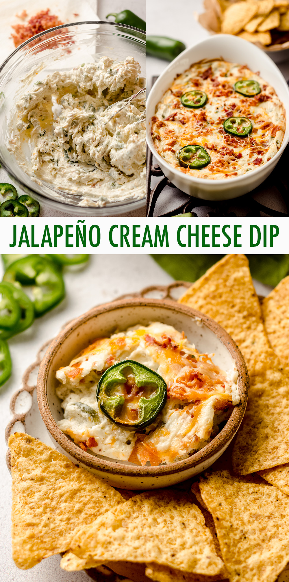 Cheesy, creamy, spicy jalapeño popper dip is the perfect appetizer or side for any Mexican dish. Serve with chips, vegetables, or as a topping.