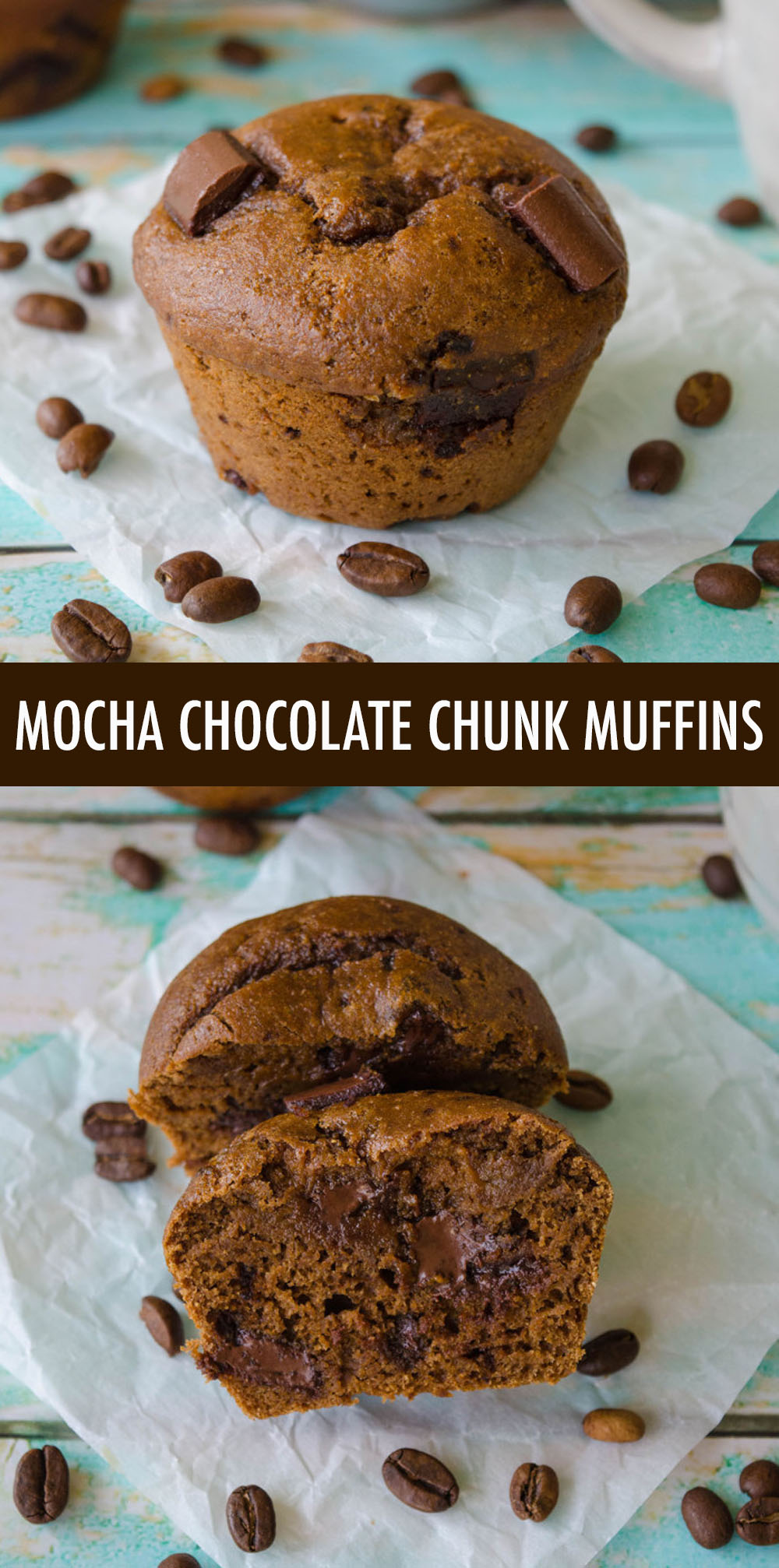 Moist and tender coffee flavored muffins filled with gooey chunks of chocolate. No oil, no butter, but so many mouthwatering flavors!