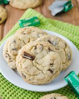 Andes Mint Cookies: Easy brown sugar cookies filled with chunks of Andes mints. No chilling, no rolling, and ready to eat in less than 30 minutes!