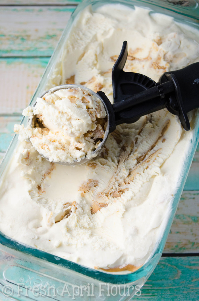 No Churn Peanut Butter Ripple Ice Cream: Easy, two ingredient, no churn ice cream swirled with ripples of peanut butter.