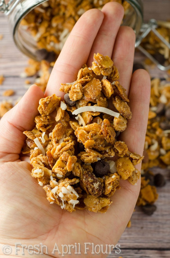 Almond Joy Granola: Crunchy and wholesome homemade granola full of almonds, coconut, and chocolate.