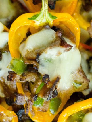 "Mini Philly Cheesesteak Stuffed Peppers: Don't let the ""mini"" part fool you-- these bite-size peppers are packed with tons of flavor!"