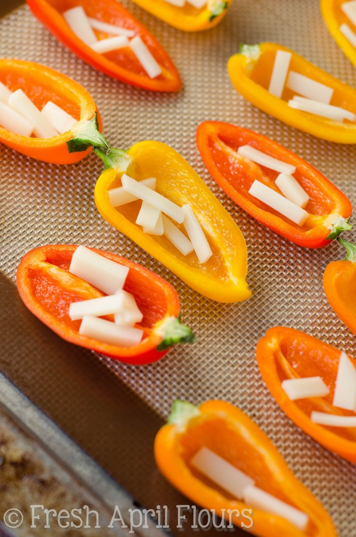 "Philly Cheesesteak Stuffed Mini Peppers: Don't let the ""mini"" part fool you-- these bite-size peppers are packed with tons of flavor!"