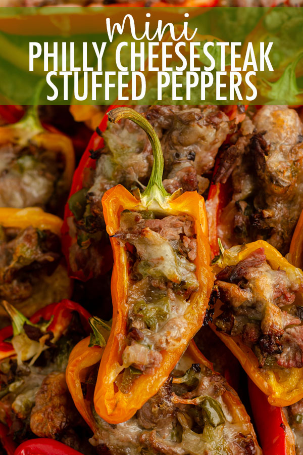 "Don't let the ""mini"" part fool you-- these bite-size peppers are packed with tons of flavor! Recipe includes instructions for four large Philly cheesesteak stuffed peppers."