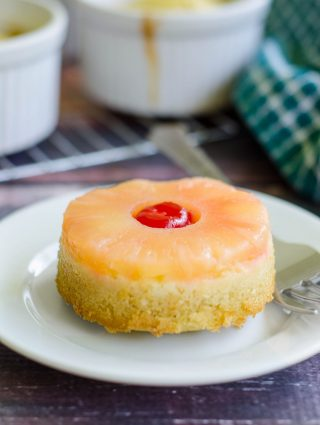 Mini Pineapple Upside Down Cakes: Like the classic, just smaller. Moist and flavorful cake topped with pineapple and a cherry.
