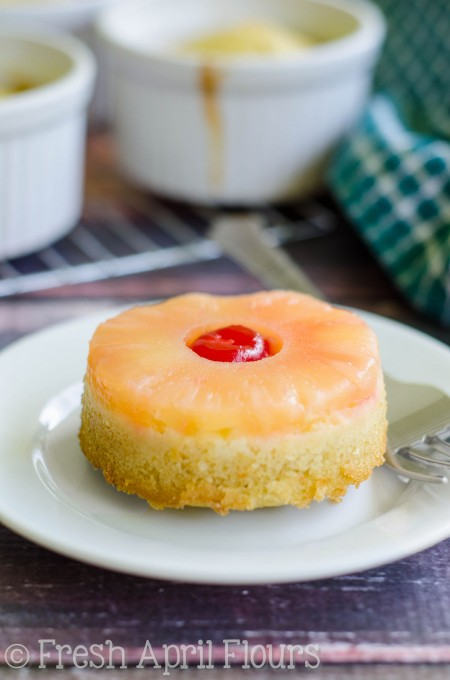Mini Pineapple Upside-Down Cakes: Like the classic, just smaller. Moist and flavorful cake topped with pineapple and a cherry.