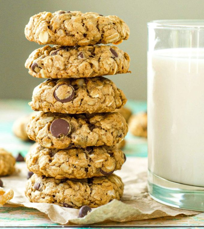 Oatmeal Chocolate Chip Walnut Cookies: Soft and chewy oatmeal cookies fully loaded with chocolate chips and walnuts.