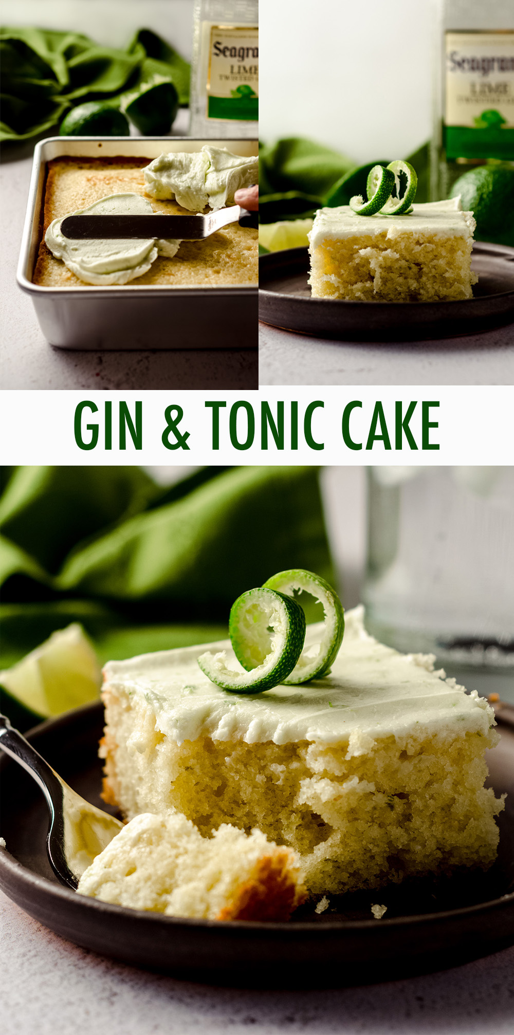 A moist and flavorful lime cake soaked in a gin syrup and slathered with a boozy, lime frosting.