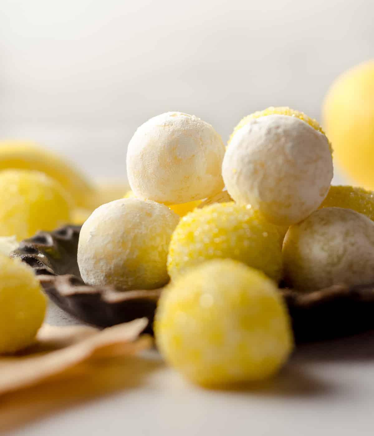 lemon truffles on a plate